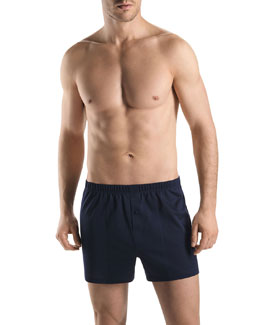 Sporty Knit Boxers, Midnight Navy