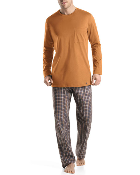 Edward Woven Check Pajama Pants, Gray