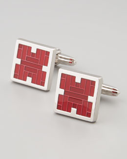 Squared Red Enamel Cufflinks