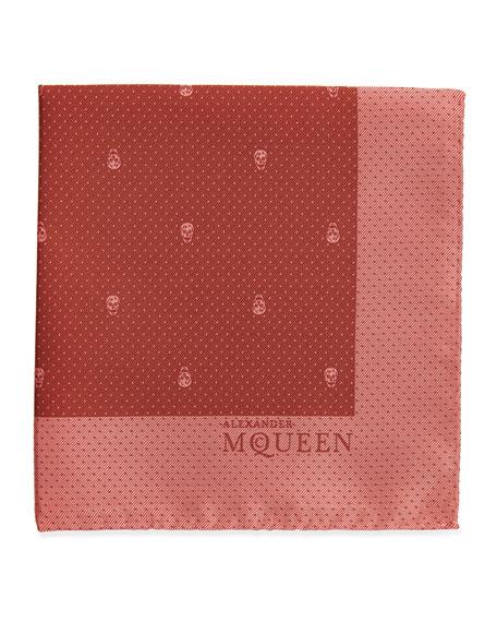 5f528a9170de1 Alexander McQueen Skull Pindot Pocket Square, Coral/Pink