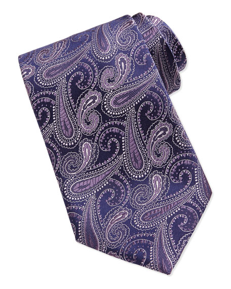 Woven Paisley Silk Tie, Purple