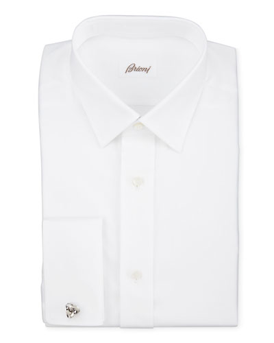 Twill French-Cuff Trim-Fit Shirt, White