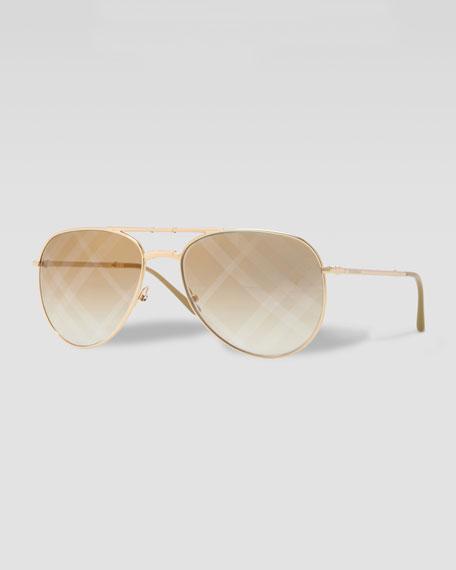 Check-Lens Folding Pilot Sunglasses, Golden