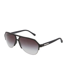 Dolce & Gabbana Molded Rubber Pilot Sunglasses, Black