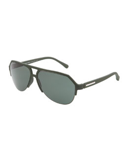 Dolce & Gabbana Molded Rubber Pilot Sunglasses, Green