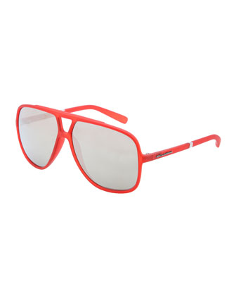 Squared Double Bridge Sunglasses, Red/Gray