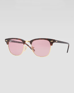 Ray-Ban Classic Clubmaster Sunglasses, Matte Havana/Pink