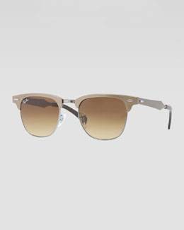 Ray-Ban Clubmaster Aluminum Sunglasses, Bronze/Light Brown