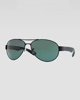 Ray-Ban Metal Pilot Sunglasses, Black/Green