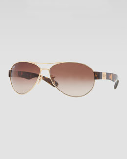Ray-Ban Metal Pilot Sunglasses, Golden/Brown
