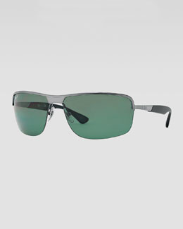 Ray-Ban Metal Squared Half-Rimmed Sunglasses, Gunmetal/Green