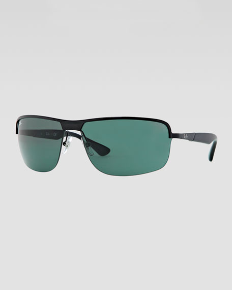Metal Squared Half-Rimmed Sunglasses, Black/Green