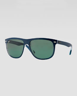 Ray-Ban Flat-Top Boyfriend Sunglasses, Blue/Green