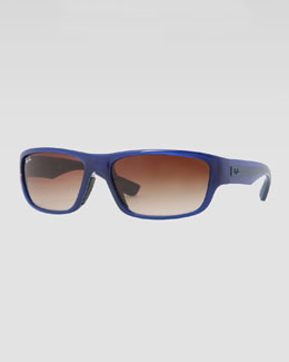 Ray-Ban Rectangular Full-Rim Sunglasses, Blue/Brown
