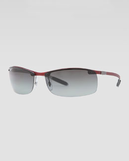 Ray-Ban Rectangular Tech Sunglasses, Light Carbon/Red