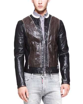Two-Tone Leather Moto Jacket, Black/Brown