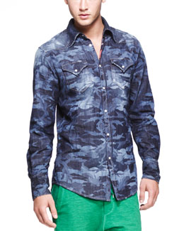 Dsquared2 Laser-Print-Camo Denim Shirt, Blue