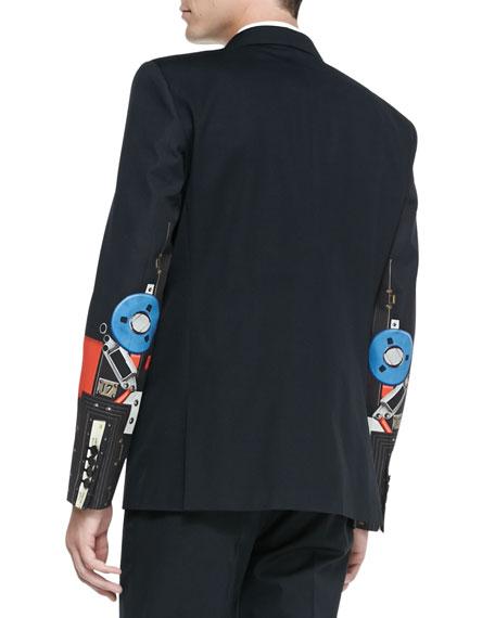 Robot-Print Two-Button Jacket, Black