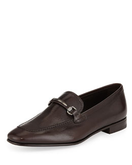Prada Textured-Goatskin Bit Loafer