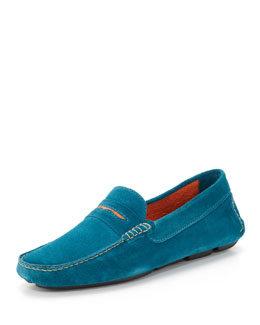 Manolo Blahnik Men's Roadster Suede Driver Loafer, Blue/Orange