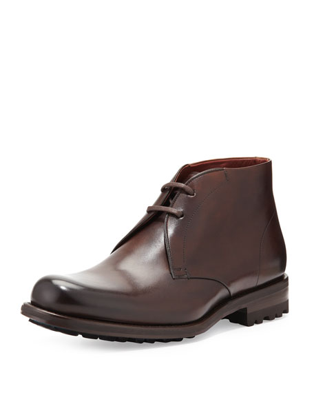 Hand-Antiqued 2-Eye Leather Chukka Boot, Brown