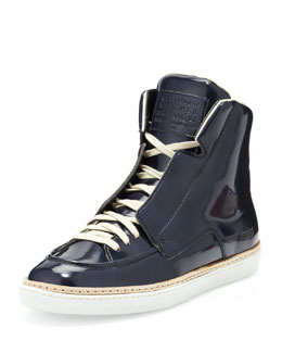 Maison Martin Margiela College Patent Leather High-Top, Blue