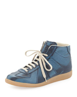 Maison Martin Margiela Replica Metallic Mid-Top Sneaker, Blue
