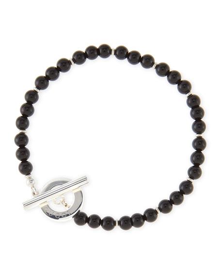 Men's Sterling Silver Boule Bracelet, Black