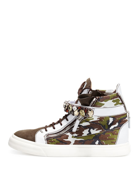 Men's Crystal-Studded High-Top Sneaker, Camo