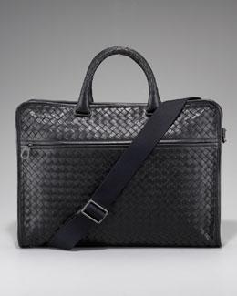 Slim Woven Briefcase, Black