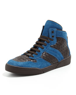 Bottega Veneta Men's Woven High-Top Sneaker, Blue/Brown