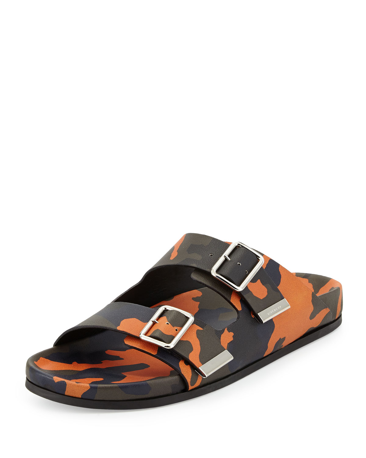 Givenchy Camo Double-Strap Footbed Sandal, Orange