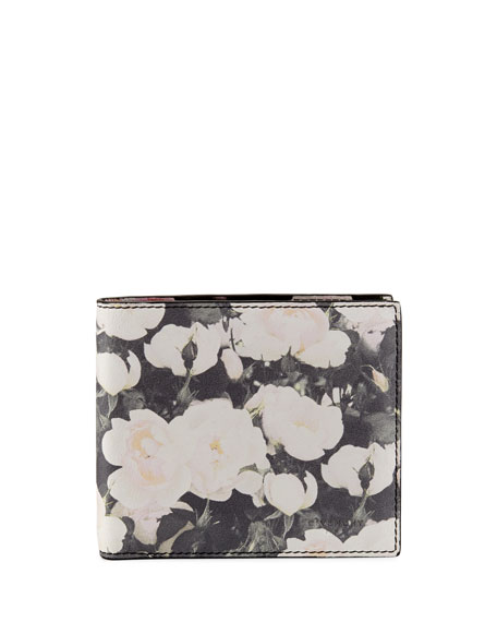 Roses Printed Leather Bi-Fold Wallet