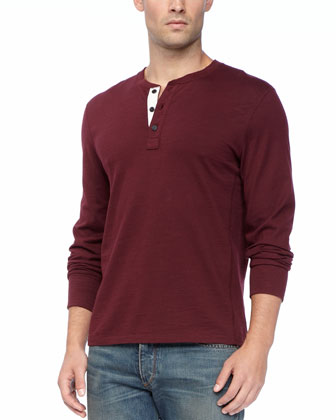 Basic Long-Sleeve Henley, Port