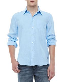 Linen Long-Sleeve Linen Shirt, Light Blue