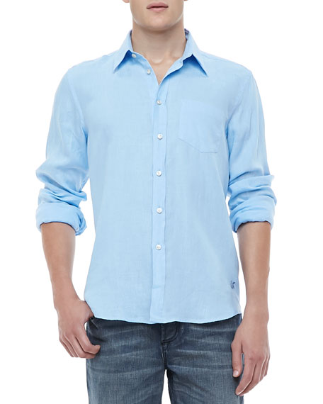 Linen Long-Sleeve Linen Shirt, Light Blue