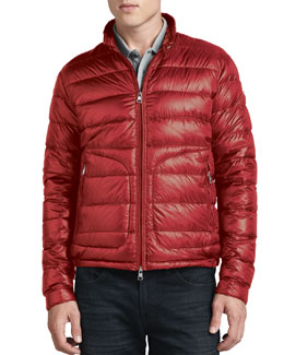 Moncler Acorus Lightweight Puffer Jacket, Red