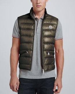Moncler Gui Lightweight Puffer Vest, Olive