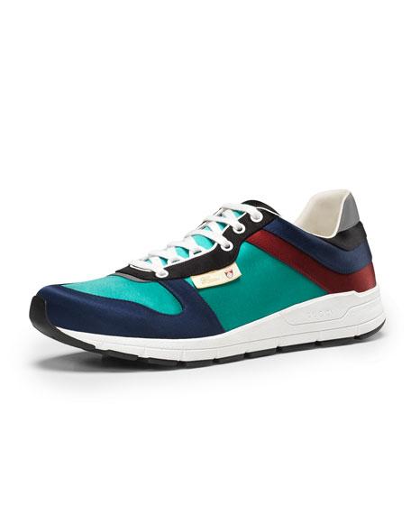 4af0db96c Gucci Ipanema Satin Lace-Up Sneaker, Blue