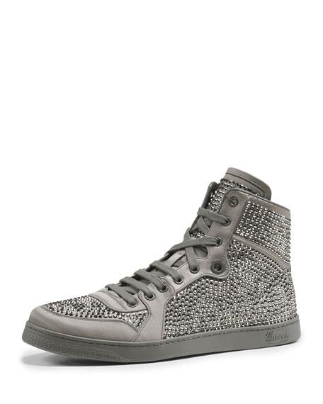 d9581536af9 Gucci Studded Sparkle High-Top Sneaker