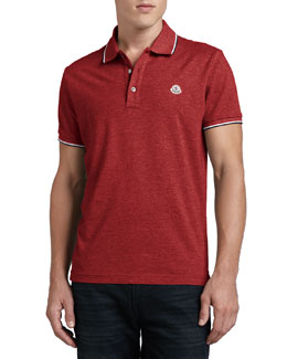 Moncler Short-Sleeve Tipped Logo Polo, Red
