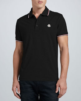 Moncler Tipped Logo Polo, Black