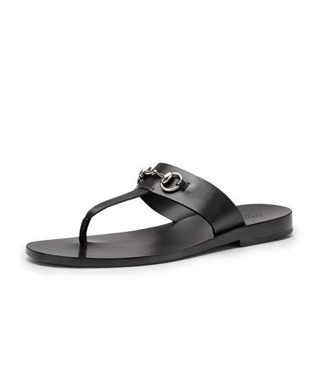 c00ff50c7 Gucci Leather Horsebit Thong Sandal