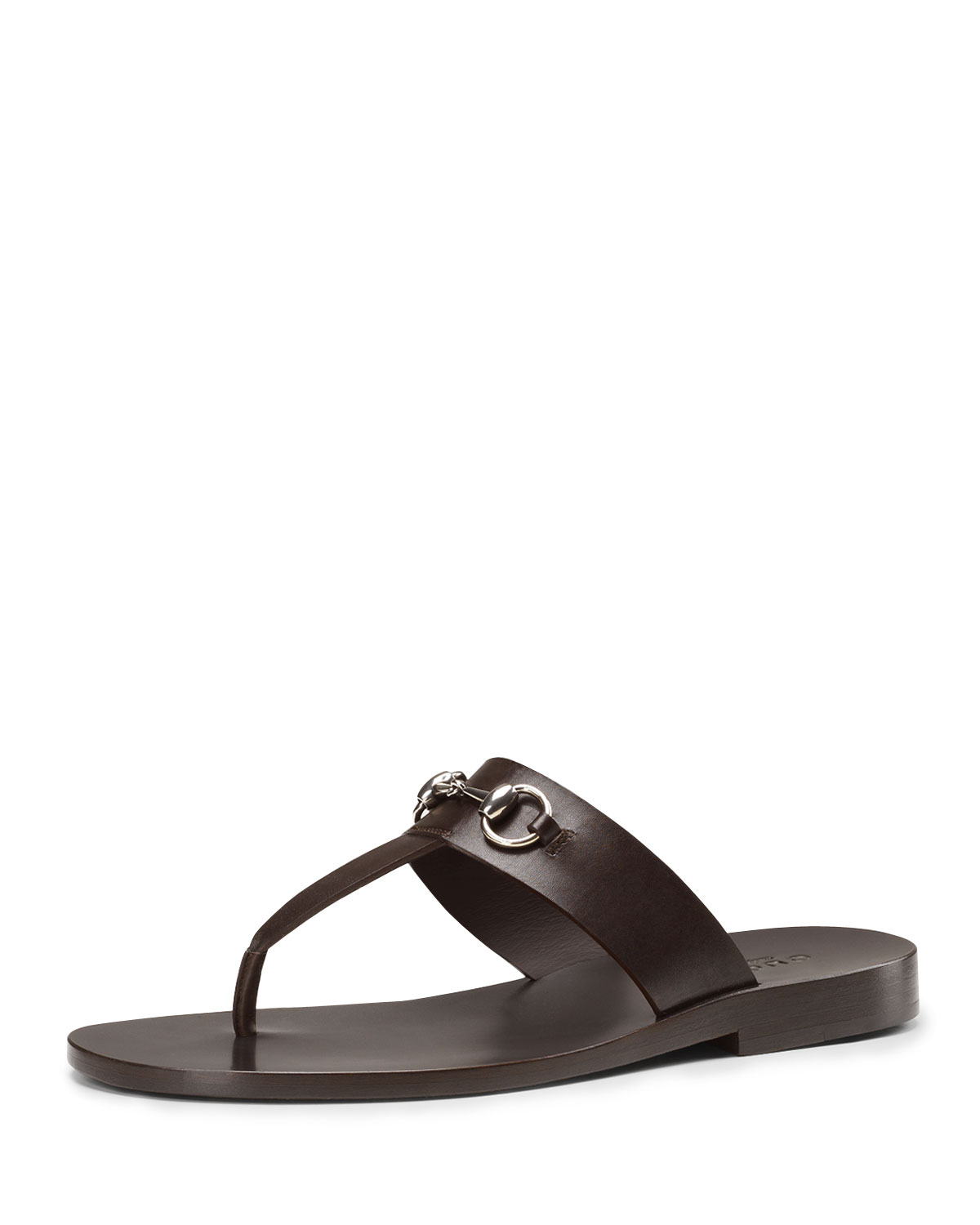 Gucci Leather Horsebit Thong Sandal, Brown