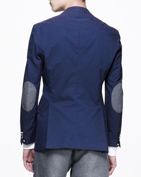 Striped Three-Button Elbow-Patch Blazer, Navy/Red