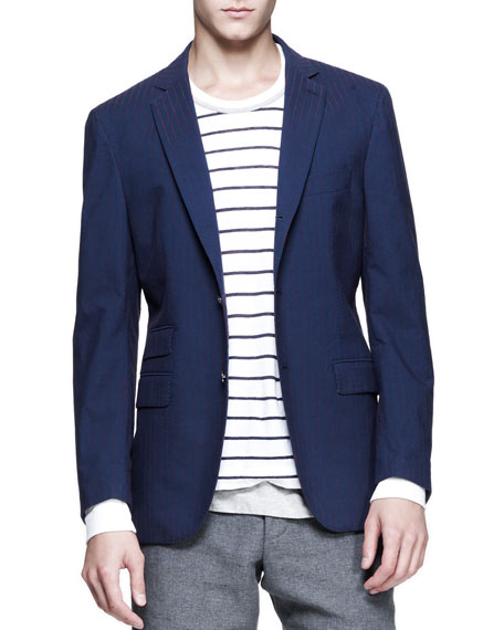 Striped Three-Button Elbow-Patch Blazer, Navy/Red