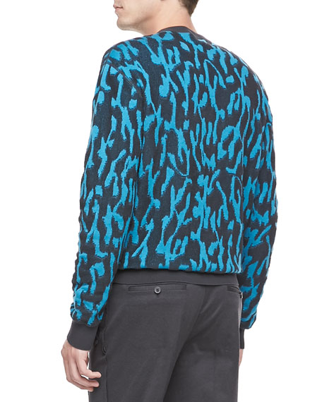 Animal-Jacquard Sweater, Turquoise