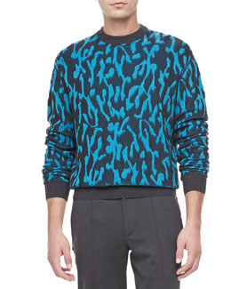 Lanvin Animal-Jacquard Sweater, Turquoise