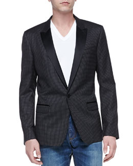 Dolce & Gabbana Martini Peak-Lapel Jacket, Black Polka-Dot