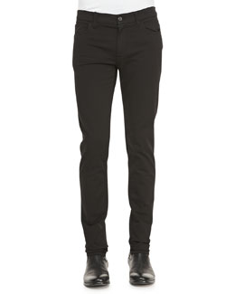 Dolce & Gabbana Garment Dyed Stretch-Twill Pants, Black
